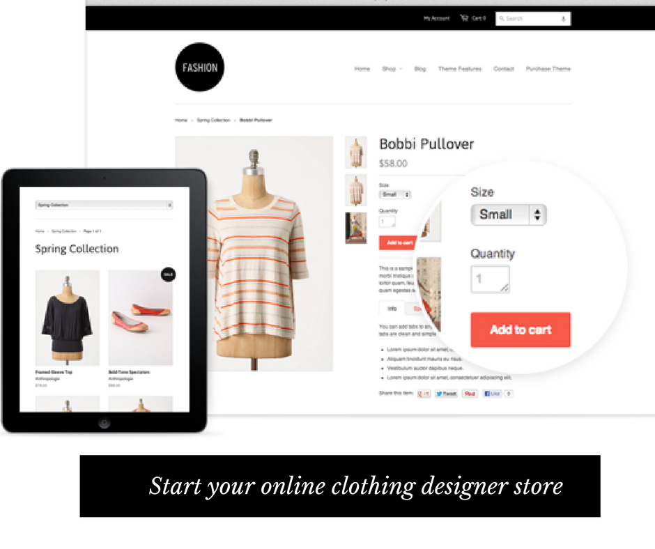 Where can you create Online Clothing Designer Store?